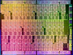 Die shot of Aubrey Isle silicon. Aubrey isle is the codename of the silicon chip included the 'Knights Ferry' Intel Many Integrated Core (MIC) architecture development platform.